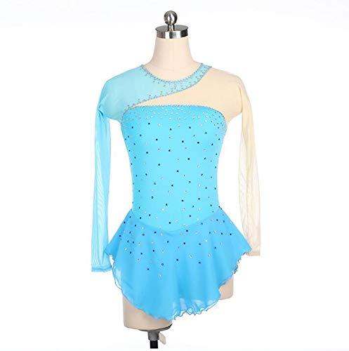 XIAOY Eiskunstlauf Kleid für Mädchen Handgemachte Rollschuhkleid Wettbewerb Kostüm Frauen Langärmelige Spitze Applique Skating Dress,Blue,L