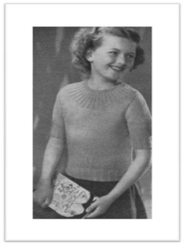 #1778 GIRLS MOCK CABLE JUMPER VINTAGE KNITTING PATTERN (English Edition) (Mock Jumper)