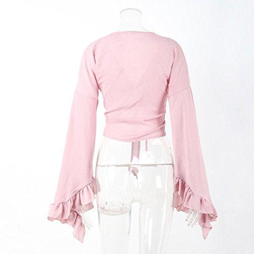 WOCACHI Damen Frühling und Herbst Blusen Mode Frauen Langarm reizvoll V-Ausschnitt Bawting Ärmel Strap Ruffles Dekoration Shirt Tops Bluse Rosa