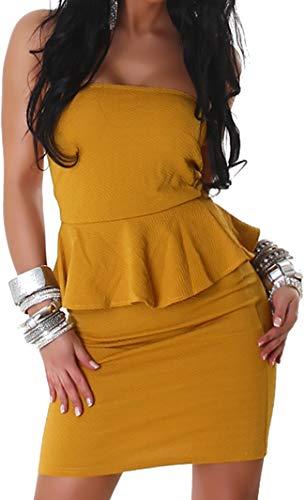 Peplum Kleid (Jela London Damen Peplum Schößchen Bandeau Mini-Kleid Stretch Schulterfrei Musterung Party Cocktail Trägerlos, Ocker Gelb ML 34 36)
