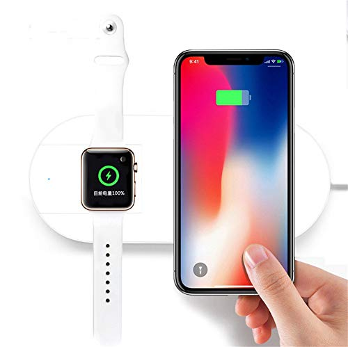 Costume Qi Wireless 2 in1 7.5W Schnellladegerät Lade Halter Pad Dock Stand für Apple Watch Serie 4 40 / 44mm für iPhone X/XS / XS MAX/XR (Weiß) (Smart Phones Verizon-handys)