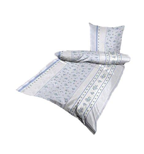 Bettwäsche Mikrofaser Bettbezug 2 teilig 135x200 155x220 Farbwahl (Hellblau-Weiß Blumen, 155x220 cm) (Bett-bettwäsche-stoff)