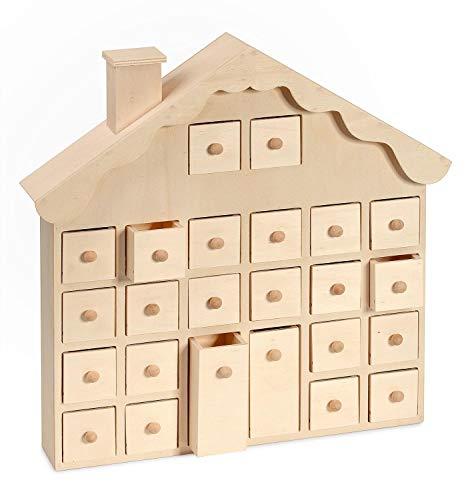 VBS Holz-Adventskalender Weihnachtshaus 36,5x37x7cm mit Schüben zum Basteln schenken Decoupage Serviettentechnik