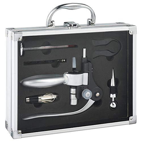 Coffret sommelier professionnel 6 pièces rangées dans une valisette en ALU - Tire-bouchon pro en inox, coupe capsule, thermomètre à vin, bouchons