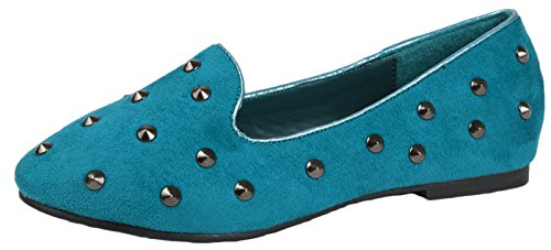 NEW GIRLS KIDS CHILDRENS STUDDED BALLET PUMPS STUD FAUX SUEDE SLIPPERS LOAFERS...