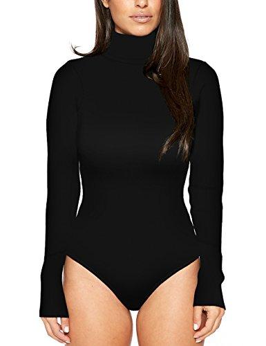 Imagine Damen club high-neck top langarm bodycon solide bodysuit sexy body jumpsuit thong leotard klein schwarz