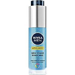 NIVEA MEN Active Energy Soin Visage Bonne Mine (1 x 50 ml), Gel hydratant et rafraîchissant anti signes de fatigue, Soin de jour effet bonne mine visible et immédiat