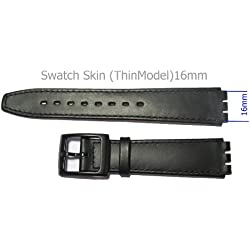 Replacement Black Leather SWATCH SKIN Watch Strap 16mm