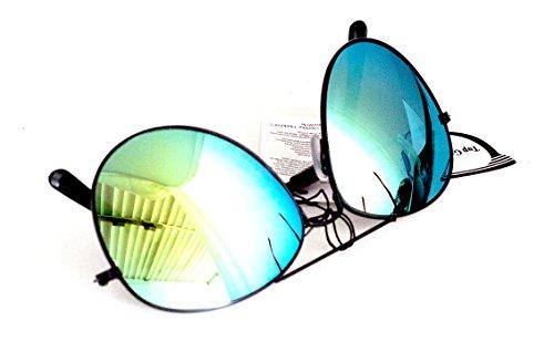 Nick and Ben Piloten-Brille Flieger-Brille Schwarz Verspiegelt 15cm Herren Damen Unisex Sonnen-Brille Lese-Brille UV-Schutz Klar-Glas Grün-Blau Glow Dark