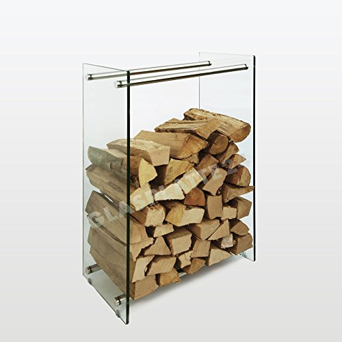 Kaminholzregal aus Glas und Edelstahl in edlem Design: klar 350mm x 1000mm x 600mm