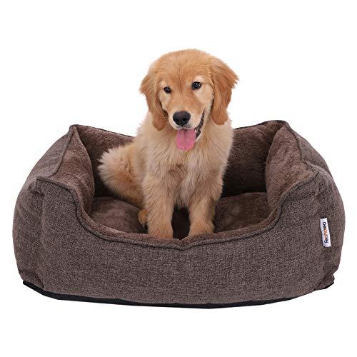 FEANDREA Waschbares Hundebett, Bezug abnehmbar und maschinenwaschbar, Kuscheliges Hundekissen, braun, 75 x 22 x 58 cm PGW10CC