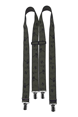 Premium-Hosenträger Jagd - Jagdhosenträger Grün/Dunkeloliv - mit starken Halteclips