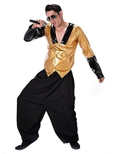 Kostüm Hip Hop Oberteile - KULTFAKTOR GmbH 80er-Jahre Rapper Kostüm Hiphop Gold-schwarz S