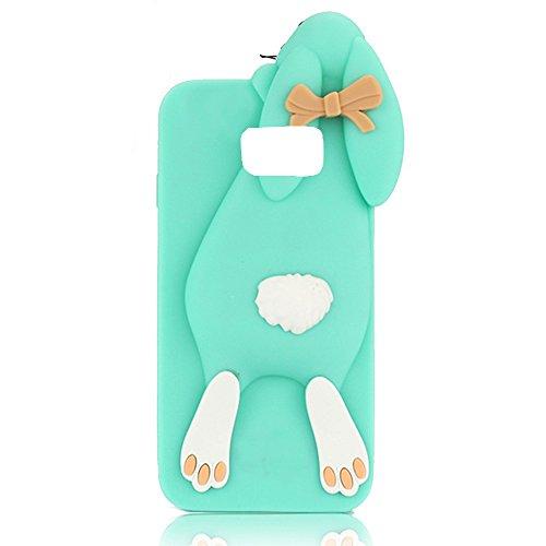Sunroyal® Samsung Galaxy S6 Edge Plus Cover 3D Lovely Coniglio Custodia in Silicone Foldable Bunny Ear Case Trasparente Rabbit Soft Morbido TPU Bumper Protettiva Cassa con Orecchio Supporto e Cinghia  Verde