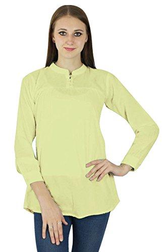 Coton Top Robe Boho Porter Vêtements Robe D'Été Tunique Casual Jaune pâle