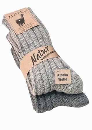 """2 Paar flauschig warme Alpaka Socken Winter Socken """"warme Füße in der kalten Jahreszeit"""" (35-38, Silber/Stahl)"""