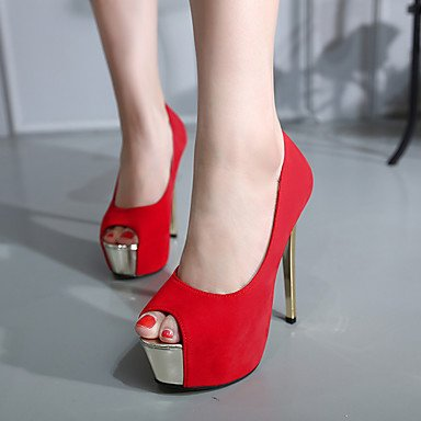 Moda Donna Sandali Sexy Donna Sandali sandali estivi / punta aperta abito scamosciato Stiletto Heel altri nero / rosso altri Black