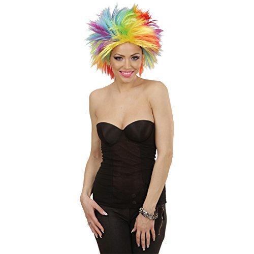 Amakando Pelo Punk Peluca arcoíris Mujer Cabellera Carnaval punkarra Accesorio Disfraz Mujer años 80 Cabello postizo de Color Melena roquera
