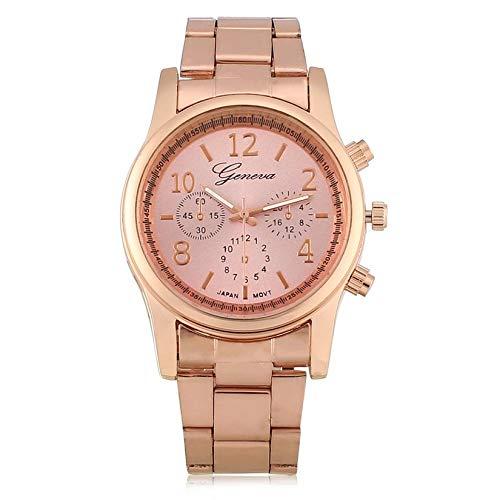 Reloj de Pulsera de Cuarzo confiable Acero Inoxidable Reloj de Pulsera de Mujer Faux cronógrafo Plateado Geneva 3 Colores