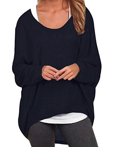 ZANZEA Damen Lose Asymmetrisch Jumper Sweatshirt Pullover Bluse Oberteile Oversize Tops Marine EU 42-44/Etikettgröße L - Damen Oversize-mode