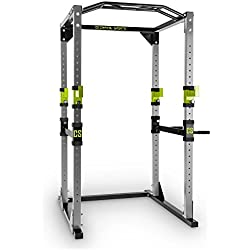 Capital Sports Tremendour - Power Rack, Cage Squat, Station de Musculation, 2 x Safety Spotter: 20 hauteurs, 4 x J-Hooks, Barre de Traction multiprise, Construction Massive en Acier, Argent