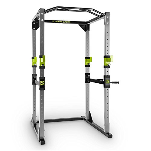 Capital Sports Tremendour Power Rack • Power Cage • Kraftstation • 2 x Safety Spotter: 20-stufig • 4 x J-Hooks • Multigripp-Klimmzugstange • aufsteckbare Dipstangen • Stahl-Kantrohrrahmen • Silber