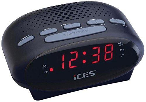iCES ICR-210 Uhrenradio (2x Weckzeiten, Schlummerfunktion, Sleeptimer) schwarz