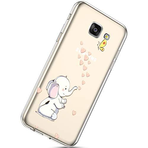 Handyhülle Kompatibel mit Galaxy A7 2016 Durchsichtig Silikon Schutzhülle Kratzfeste Kristall Transparent Silikonhülle Crystal Clear TPU Bumper Case TPU Cover Weich Hülle,Elefant