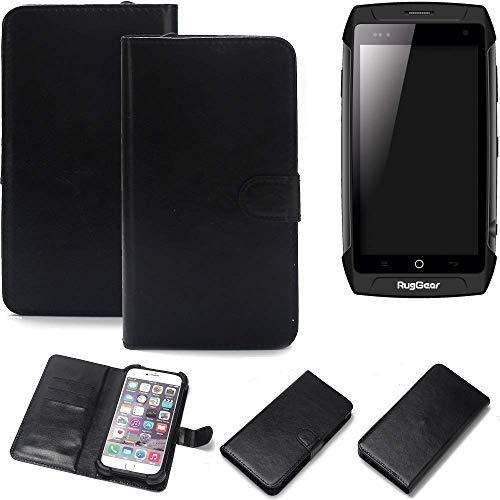 K-S-Trade Wallet Case Handyhülle Ruggear RG730 Schutz Hülle Smartphone Flip Cover Flipstyle Tasche Schutzhülle Flipcover Slim Bumper schwarz, 1x