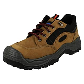 Aboutblu Mens Safety Boots Nepal - Brown/Black/Red Suede - UK Size 5 - EU Size 38 - US Size 6