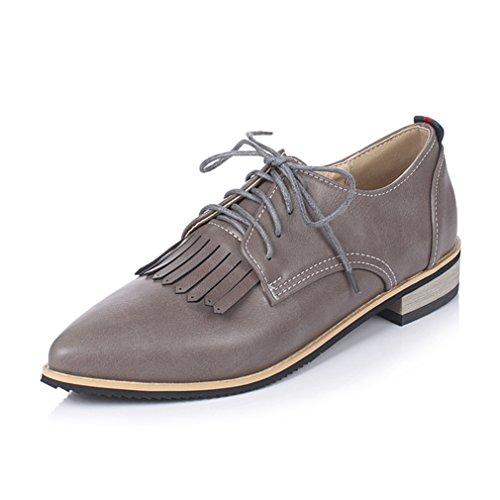Damen Schnürhalbschuhe Spitz Zehen Britische Stil Freizeitschuhe Atmungsaktiv Anti-Rutsche Troddel Retro Modische Schuhe Grau