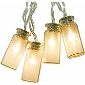 Neu - 8 Modi Vintage Glas LED-Lichterketten Mit 20 Warmweißen LEDs--Batteriebetrieben