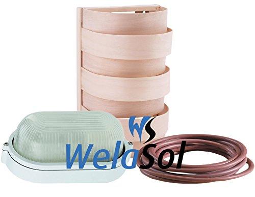 WelaSol® Saunalampe Set Lampenschirm 917, Saunalampe, 3 m Silikonkabel original WelaSol®
