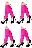 krautwear® 4x Damen Beinwärmer Stulpen Legwarmers Overknees gestrickte Strümpfe Schwarz 80er Jahre 1980er Jahre (4x 13232-Pink)