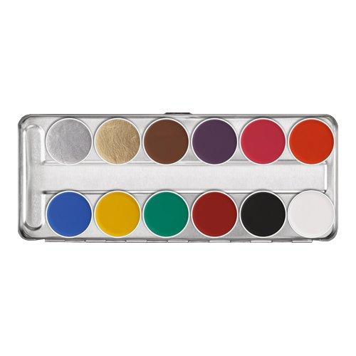 Theaterschminke Kinderschminke Aquacolor Schmink Palette SN 12 Farben