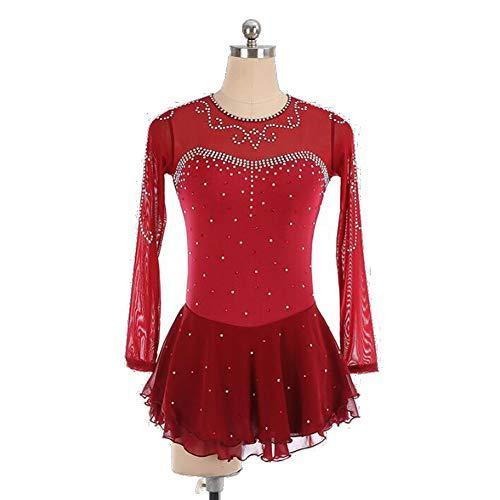 XIAOY Handarbeit Eiskunstlauf Kleid für Frauen Mädchen mit Kristallen Langärmelige,Red,XXXL
