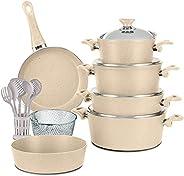 Regal in house European Granite Cookware Set 18 Pcs with Service Set - Steel Lids - Beige