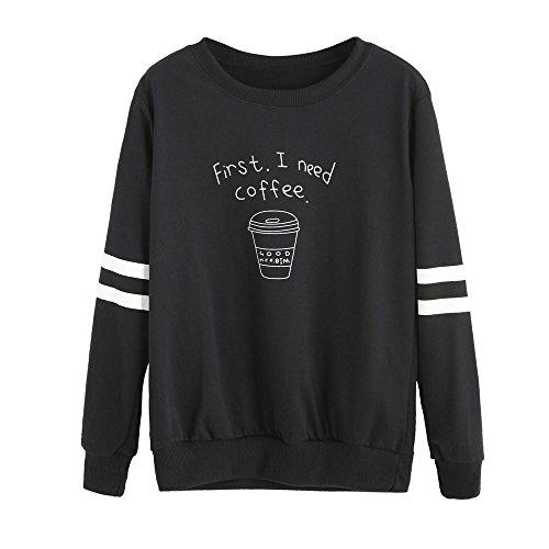 ❤Mosstars Halloween Hoodies Kaffee Print Tops Sweatshirt Tops Bluse Kapuzenpullover Sweatshirt Pullover Digital Druck O Ausschnitt Hoodies Outerwear Herbst Langarmshirt Kapuze Bluse