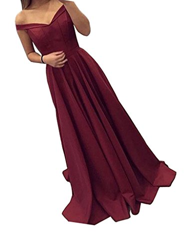 Damen 2018 Off-Shoulder A Line Lang Ball Abendkleider Cocktail Formal Kleider-S12Burgundy-UK8 (Amazon Formale Lange Kleider)