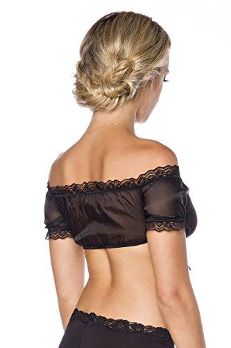 Schwarze kurze transparente Dirndl Bluse mit Raffung uns Spitze sowie Bindeband in der Mitte Schwarz