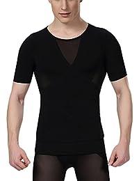 Aieoe Camiseta Reductora con Faja Ajustable Moldeadora de Abdomen Translúcido para Hombre Deportes Fitness - Negro Blanco