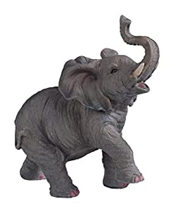 6.5 inch Small Polyresin Elephant With Trunk Up Figurine Statue