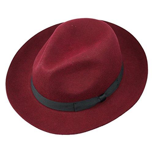 Herren 100% Filz Wolle Gladwin Bond Snap Krempe Schweißband Fedora Hand Made Vintage Hat, Rot Fedora Snap