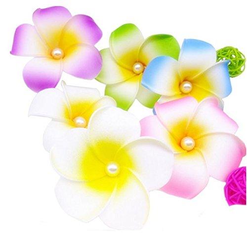 10pcs-Colorful-5-cm-Plumeria-hawaiano-espuma-flor-clips-de-pelo-para-novia-boda-fiesta-color-al-azar