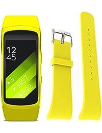 Malloom Silicona reloj repuesto banda correa para Samsung Gear Fit 2 SM-R360 Wristband, Tamaño S (amarillo)