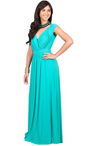 KOH KOH® Femmes Robe Longue Mancherons Col V Cocktail Ceinture Élastique Turquoise