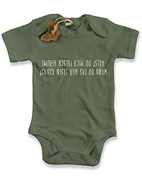 net-shirts Organic Baby Body mit WENN DU DAS LESEN KANNST Aufdruck Spruch lustig Strampler Babybekleidung aus...