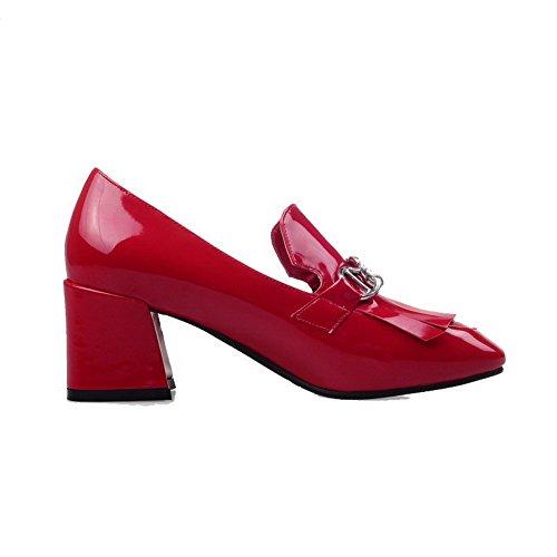 VogueZone009 Damen Eingelegt Mittler Absatz Quadratisch Zehe Ziehen Auf Pumps Schuhe Rot