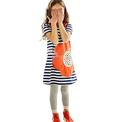 FEITONG Casual Toddler Dress Cute Girls Striped Fleur Princesse manches