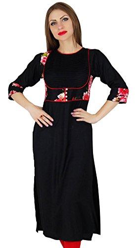 Bimba Frauen gerade schwarz Kurta Kurti w/Printed Joch klassisch schick Tunika -